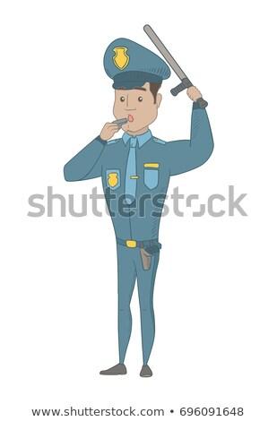 Genç koyu esmer polis memuru üniforma tam uzunlukta Stok fotoğraf © RAStudio