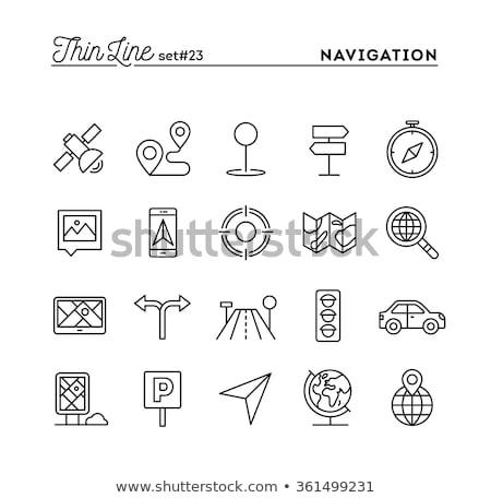 Photo stock: Voyage · panneau · de · signalisation · ligne · icône · web