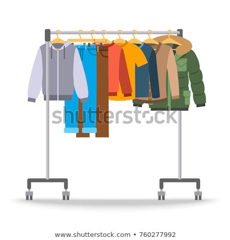Mannen toevallig warm kleding hanger rack Stockfoto © vectorikart