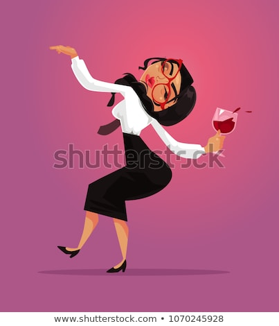 Drunk Business Woman Vector. Corporate Party. Relaxing Concept. Meet up Party. Celebrating Victory I Stock photo © pikepicture