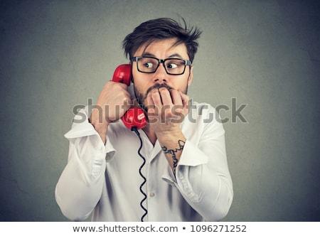 Megrémült férfi rossz hírek telefon formális ruházat megrémült Stock fotó © ichiosea