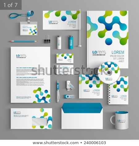 modern blue business stationery vector template set Stock photo © SArts