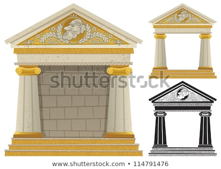 greek temple of cartoon style on a white background vector illu stock photo © popaukropa