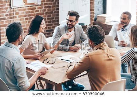 empresarios · trabajo · junto · oficina · trabajo · en · equipo - foto stock © alphaspirit