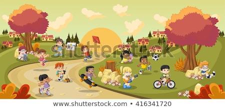 gelukkig · kinderen · spelen · verf · meisje · handen · kinderen - stockfoto © krisdog