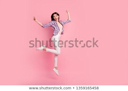 Afbeelding geschokt vrouw denim kleding Stockfoto © deandrobot