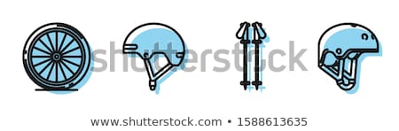 Мото шлема линия икона вектора изолированный Сток-фото © RAStudio