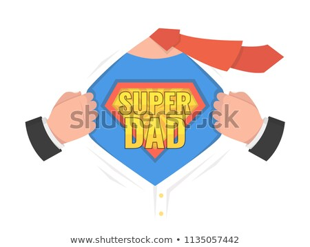 Stok fotoğraf: Super Dad Sign Vector Father S Day Superhero Open Shirt With Shield Badge Isolated Flat Cartoon C