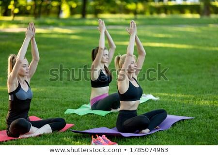 Ioga pilates parque silhueta mulher Foto stock © Krisdog