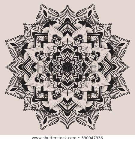 Mandala szimmetrikus dísz dekoratív minta feketefehér Stock fotó © mcherevan