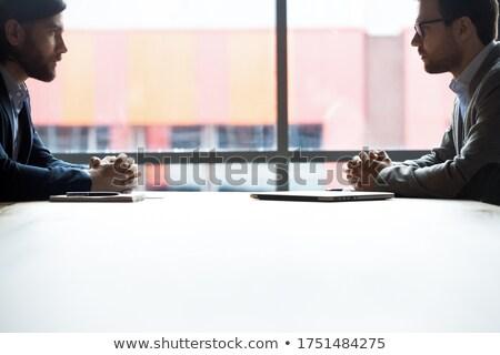 Ellenséges néz üzletemberek férfi város üzletember Stock fotó © IS2