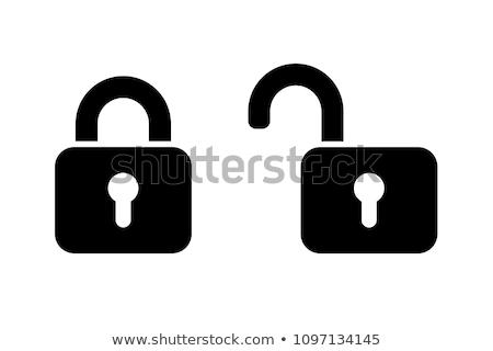 Zár vektor ikon terv szín feketefehér Stock fotó © rizwanali3d