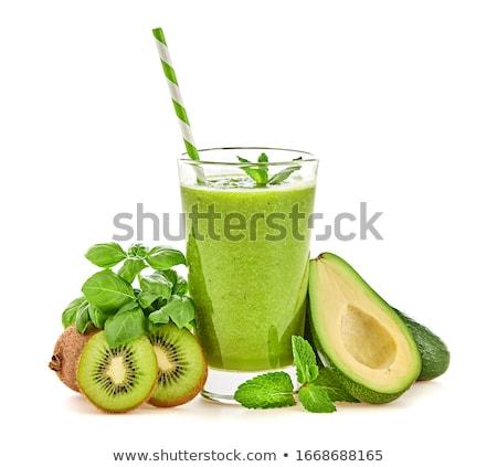 Photo stock: Fruits · smoothie · verre · fond · déjeuner · banane