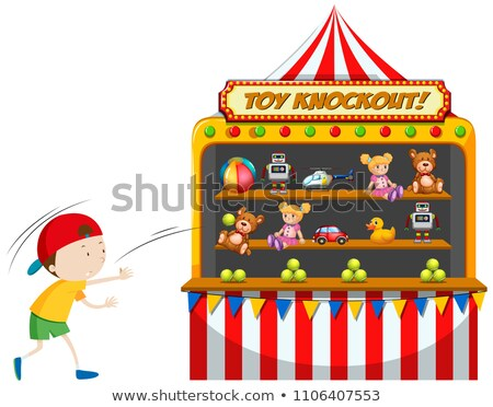 Boy playing toy knockout at carnival Stock photo © bluering