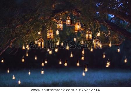 Fa lámpások derűs buli ünneplés esküvő Stock fotó © odina222