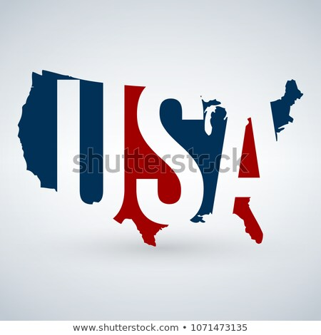 us logo or icon with usa letters across the map united states of america blue and red colors vect stock photo © kyryloff