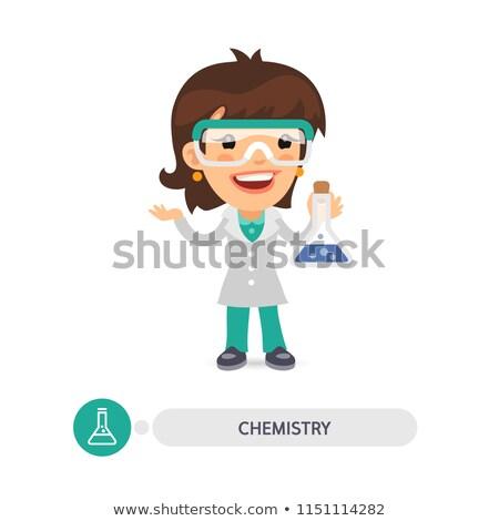 Kadın kimya öğretmen ampul karikatür karakter Stok fotoğraf © Voysla