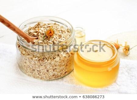 燕麦 はちみつ ガラス 表示 jarファイル ストックフォト © dash