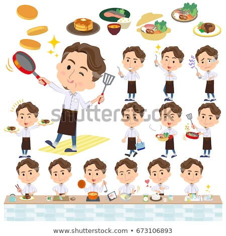 Vad középkorú férfi főzés szett különböző internet Stock fotó © toyotoyo