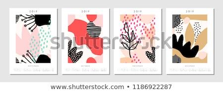 スタイリッシュ · 青 · カレンダー · デザイン · 壁 · 表 - ストックフォト © ivaleksa