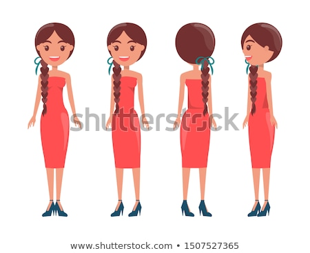 Braided Pretty Women in Elegant Stylish Dresses Set Stock photo © robuart