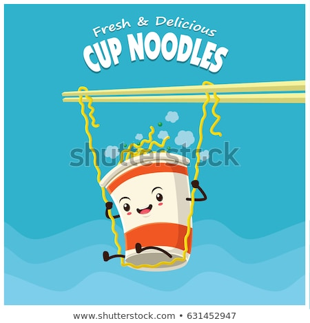 Noodle with Chopsticks Poster Vector Illustration Stock photo © robuart