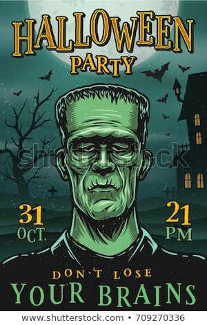 Stock photo: Halloween Party flyer vector illustration with tombstone and pumpkins on mysterious red background.