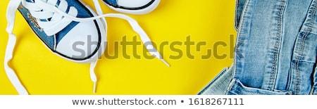 Blauw vrouwelijke mannelijke jeans denim Geel Stockfoto © Illia