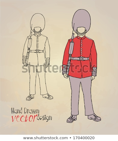 Queen's Guard Illustration vector man in traditional uniform bri Stock photo © NikoDzhi
