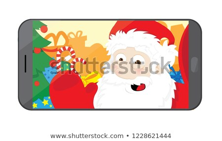 funny · papá · noel · toma · taller · vector · Cartoon - foto stock © pcanzo