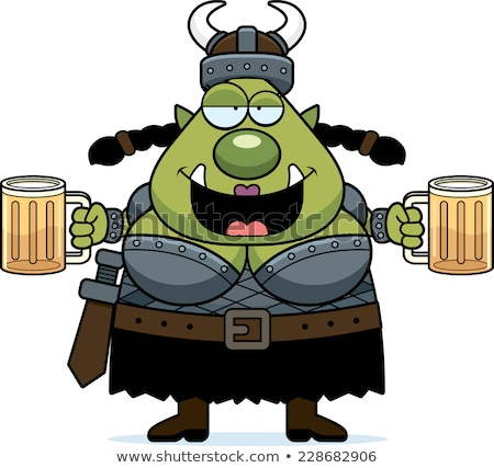 Drunk Cartoon Orc Stock photo © cthoman