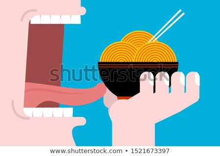eating ramen open mouth teeth and tongue chinese traditional stock photo © maryvalery