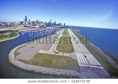 Aerial view of airplane over the runway Stock photo © colematt