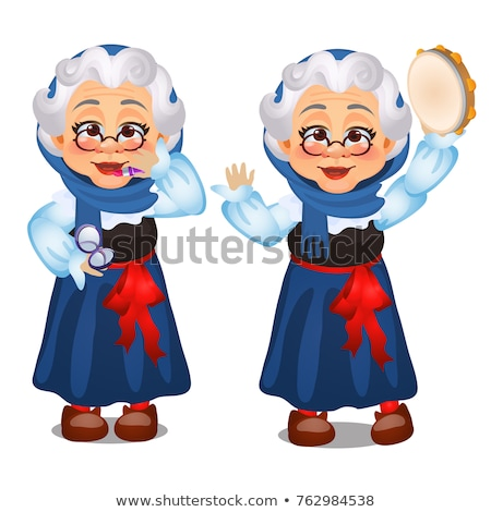 Animated old lady, lipstick, dances with a tambourine isolated on white background. Second wind. Ske Stock photo © Lady-Luck