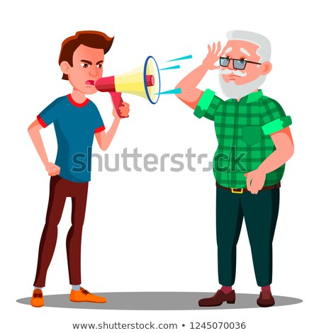 Guy Screaming To Hearing Impaired Elderly Man Vector. Isolated Cartoon Illustration Stock photo © pikepicture