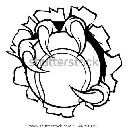 Foto stock: Eagle Tennis Cartoon Mascot Tearing Background