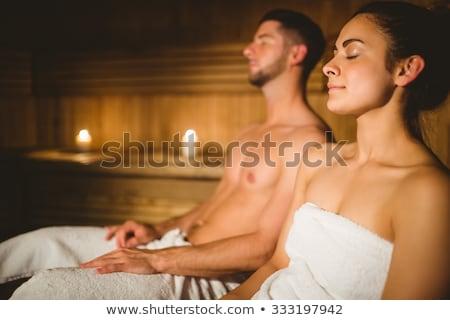 Bonito relaxante sauna feliz casal Foto stock © boggy