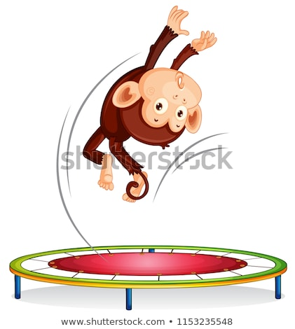 Macaco saltando trampolim ilustração bebê feliz Foto stock © colematt