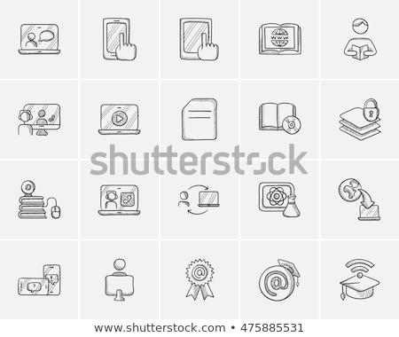 man studying online on computer hand drawn icon stock photo © rastudio