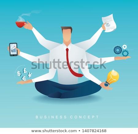 ストックフォト: 男 · 忙しい · 作業 · ビジネスマン · ベクトル