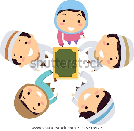 Stickman Kids Muslim Hands In Quran Illustration Stock photo © lenm