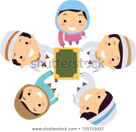 Stickman Kids Muslim Hands In Quran Illustration Stock photo © lenm