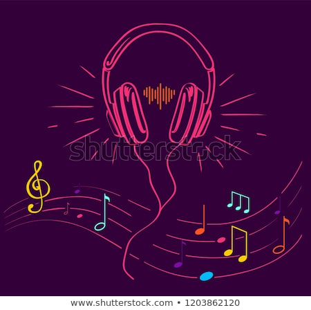 Music Poster Treble Clef, Notes Set and Headphones Stock photo © robuart
