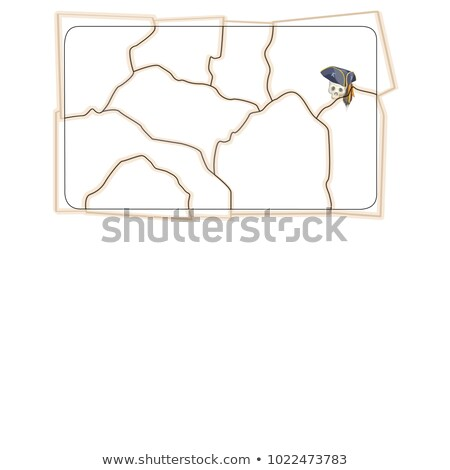 A sketch in the form of glued fragments of a torn pirate map with space for text or image. Vector ca Stock photo © Lady-Luck