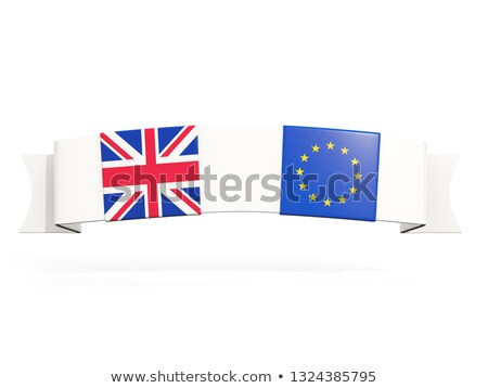 Banner with two square flags of United Kingdom and EU Stock photo © MikhailMishchenko