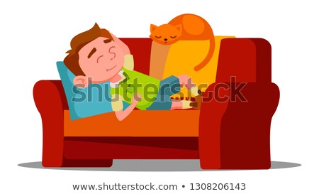 tired little boy sleeping on the couch next to sleeping cat vector isolated illustration stock photo © pikepicture