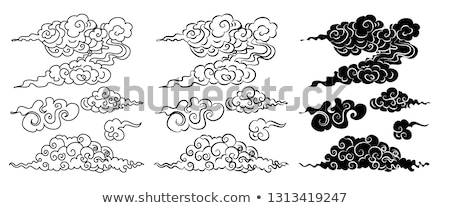 Clouds Colored Chinese Style Line Art Isolated Stock photo © robuart