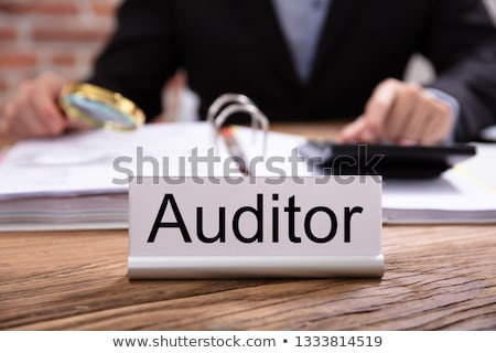 Nameplate With Auditor Title Kept On Desk Stock photo © AndreyPopov