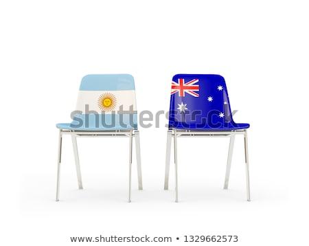 Zdjęcia stock: Dwa · krzesła · flagi · Australia · Argentyna · odizolowany