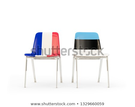 Two chairs with flags of France and estonia Stock photo © MikhailMishchenko